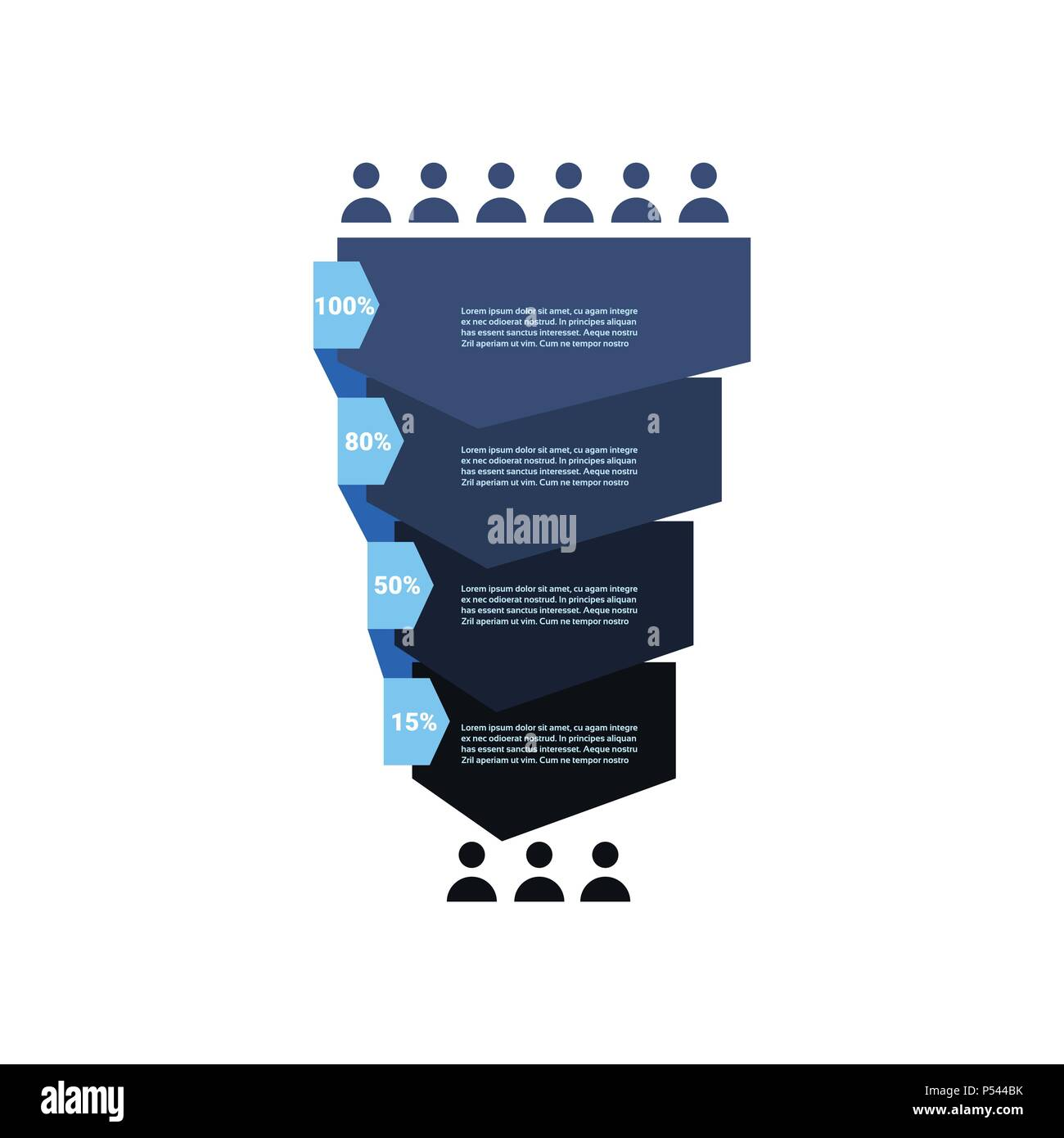sales funnel with people icon stages business infographic  purchase diagram  concept over white background copy space flat design