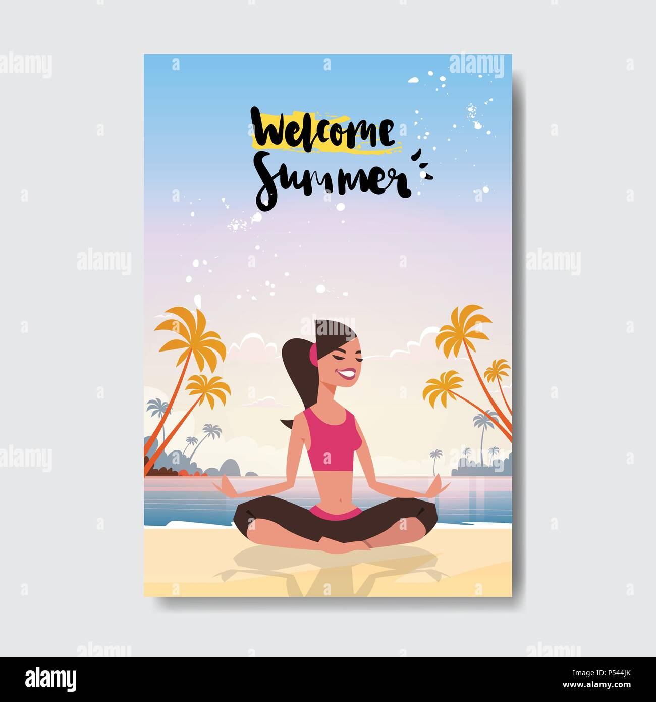 Summer yoga woman doing exercises sunset beach badge design label summer yoga woman doing exercises sunset beach badge design label season holidays lettering for logotemplates invitation greeting card stopboris Gallery