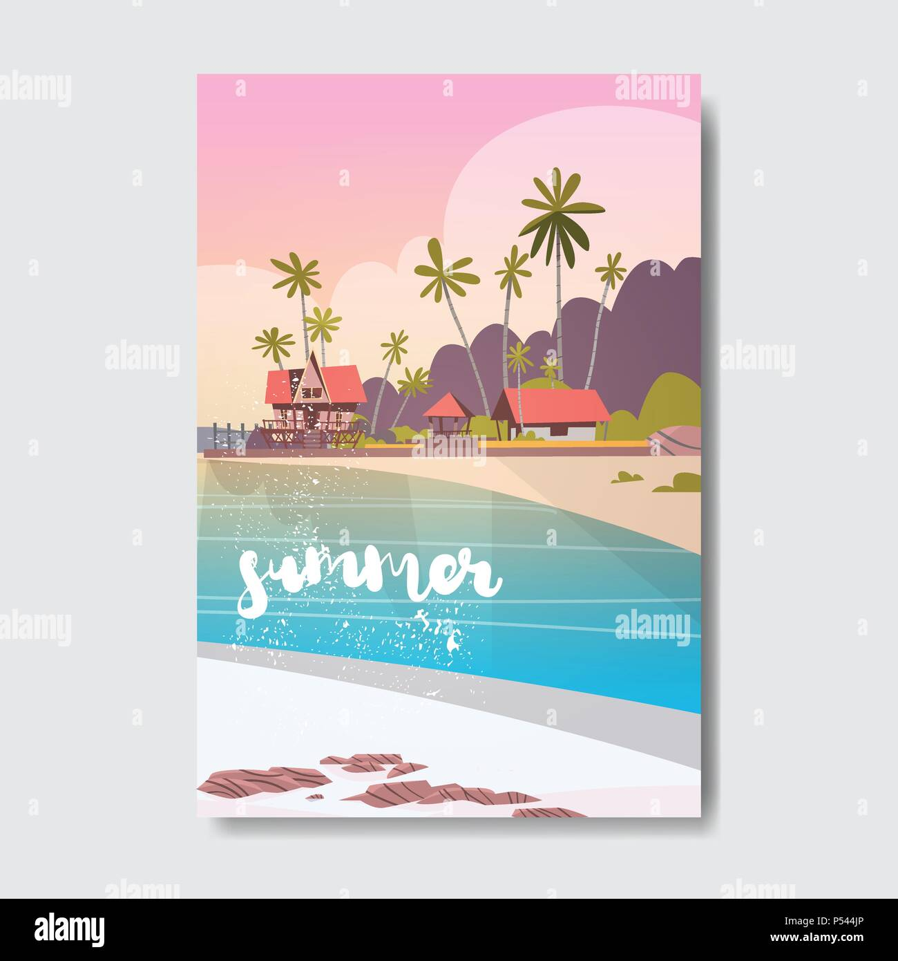 Welcome Summer House Hotel Palm Tree Beach Badge Design Label