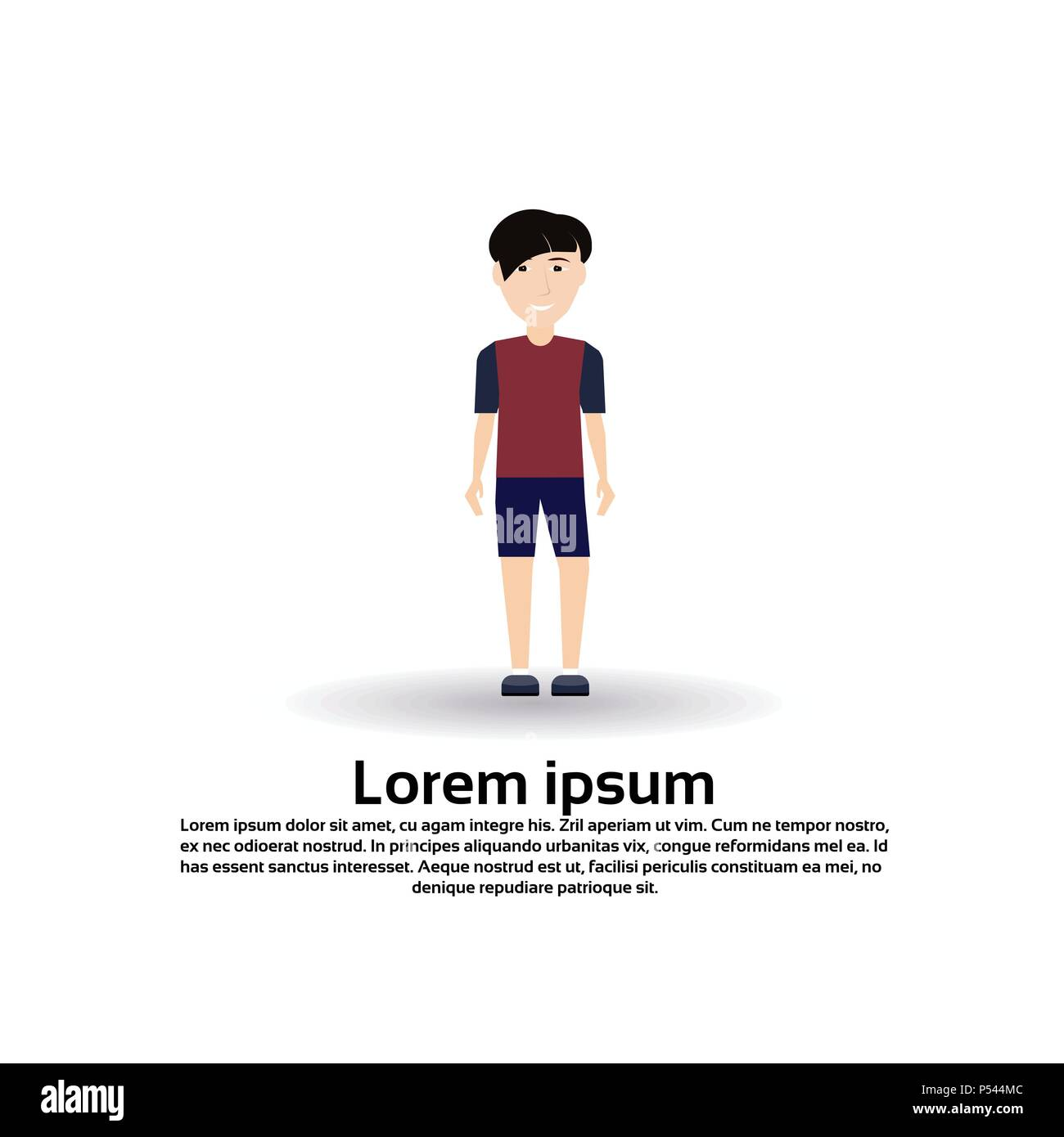 Boy Character Male Template For Design Animation On White Background