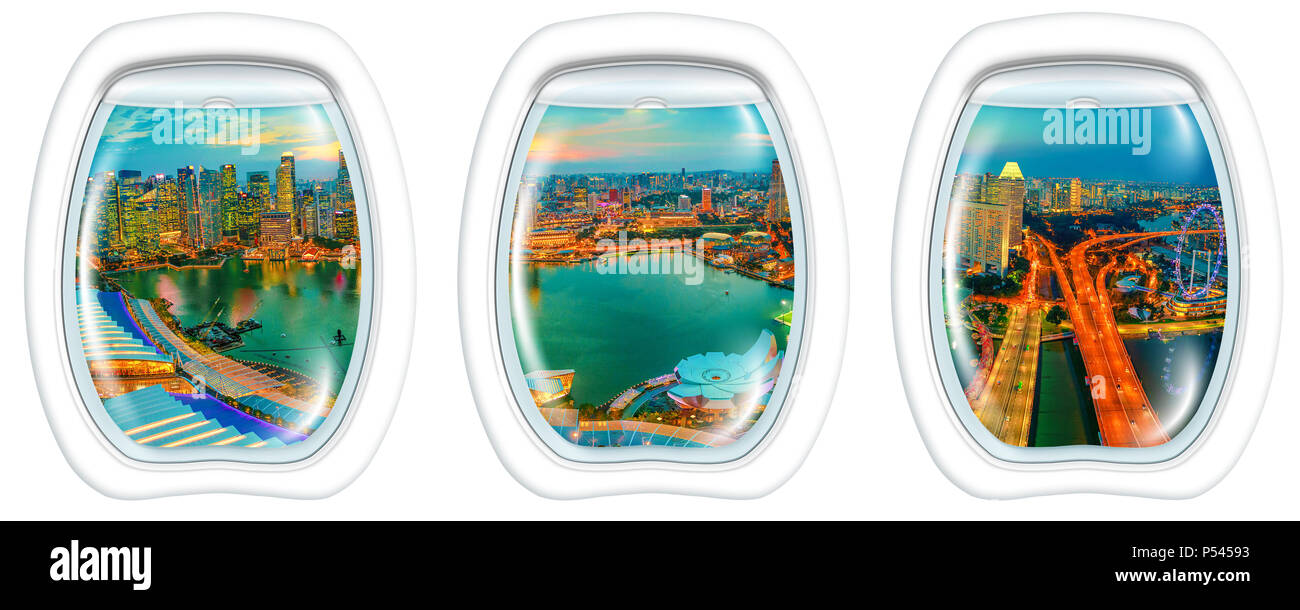 Three porthole frame windows on twilight panorama of Singapore Marina Bay with illuminated skyscrapers of the financial district in downtown of city. Singapore cityscape with ferris wheel aerial view. - Stock Image