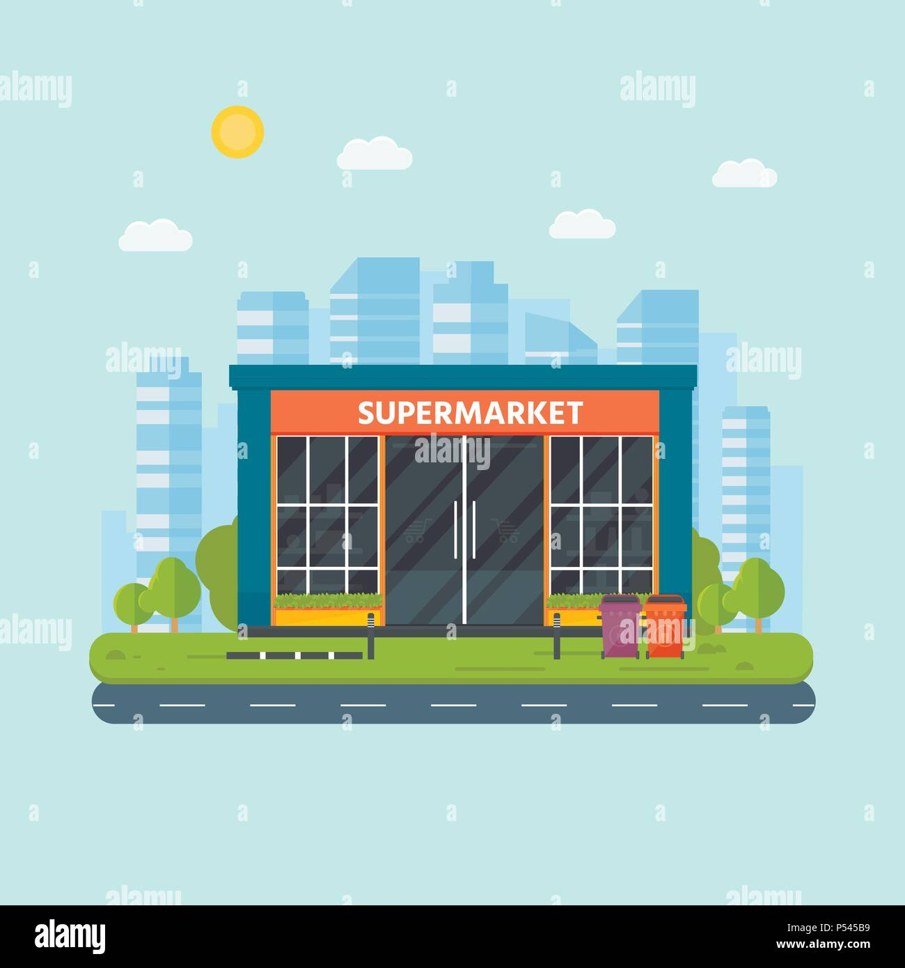 Vector Flat Design Restaurants Exterior And Shops Facade Supermarket Store Front Window Buildings Icon With City On The Background Stock Vector Image Art Alamy