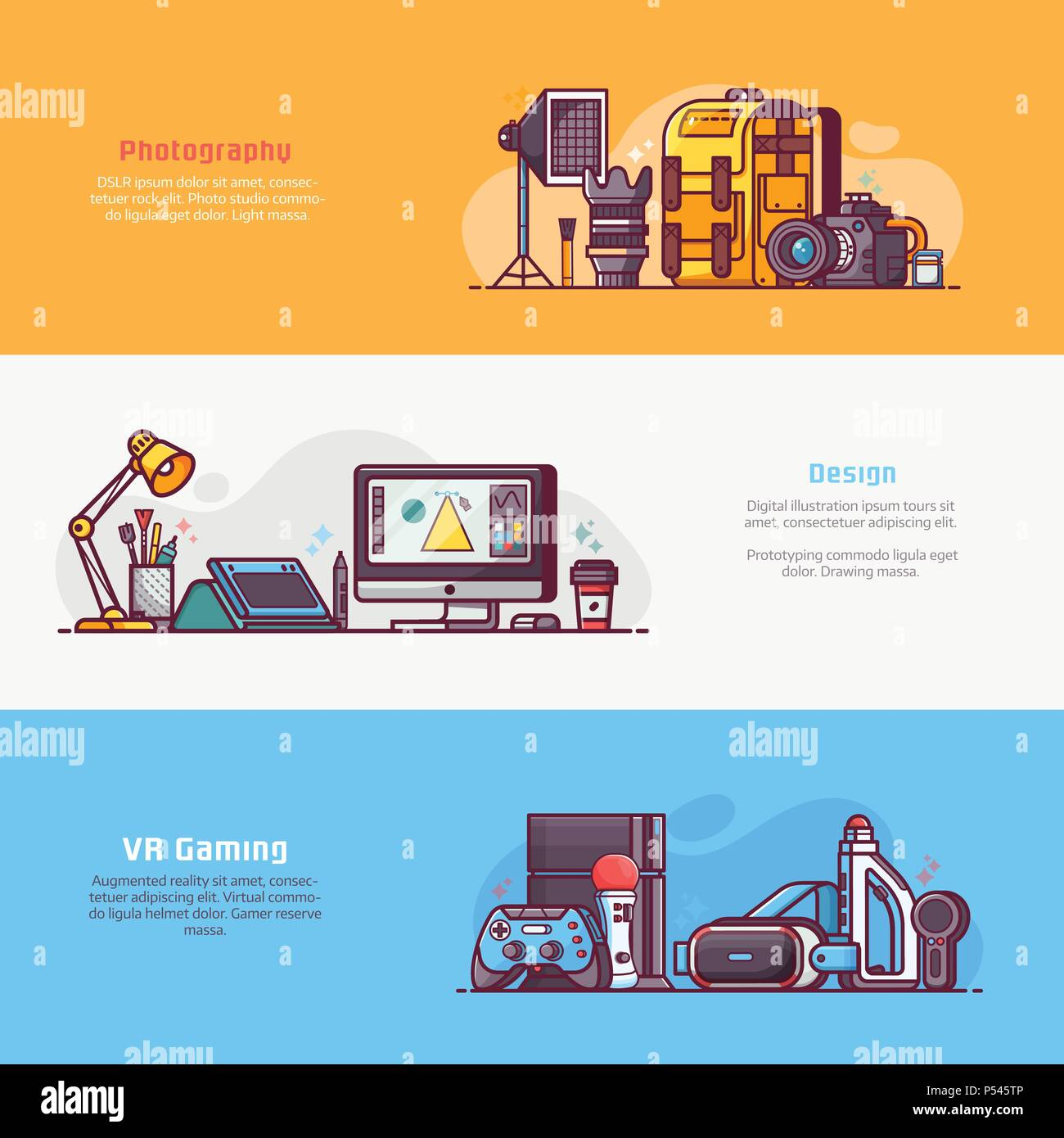 Digital Professions and Careers Banners - Stock Vector
