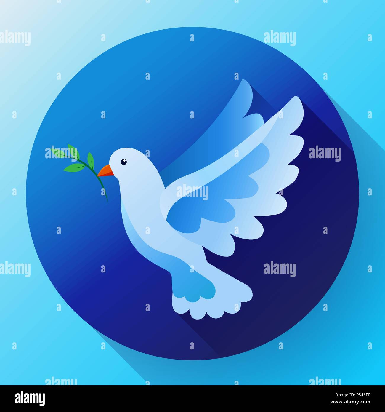 Blue Dove With Branch Peace Icon Flying Blue Bird And Peace Concept
