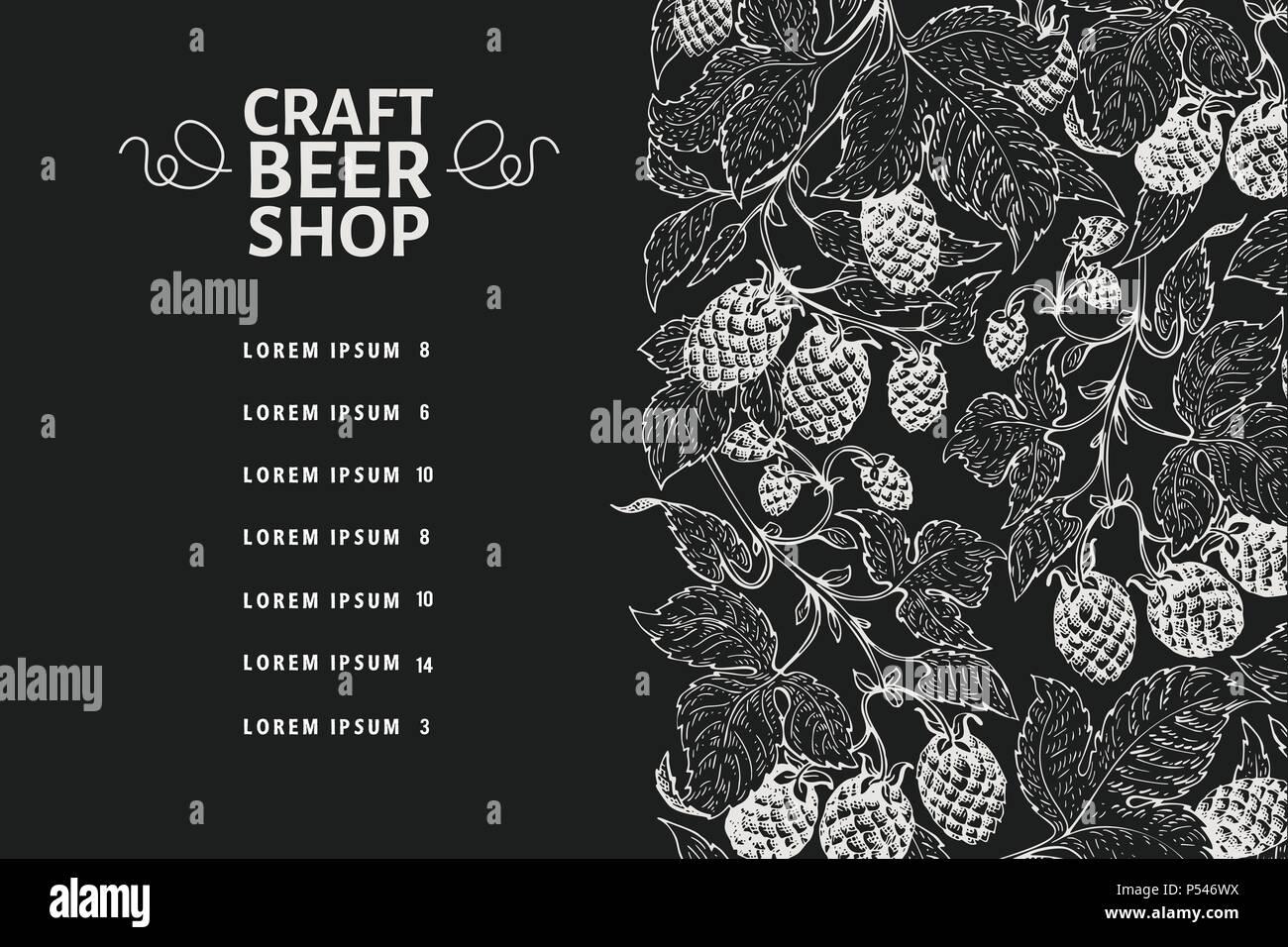 Beer Menu Design Template Vintage Beer Background Vector Hand