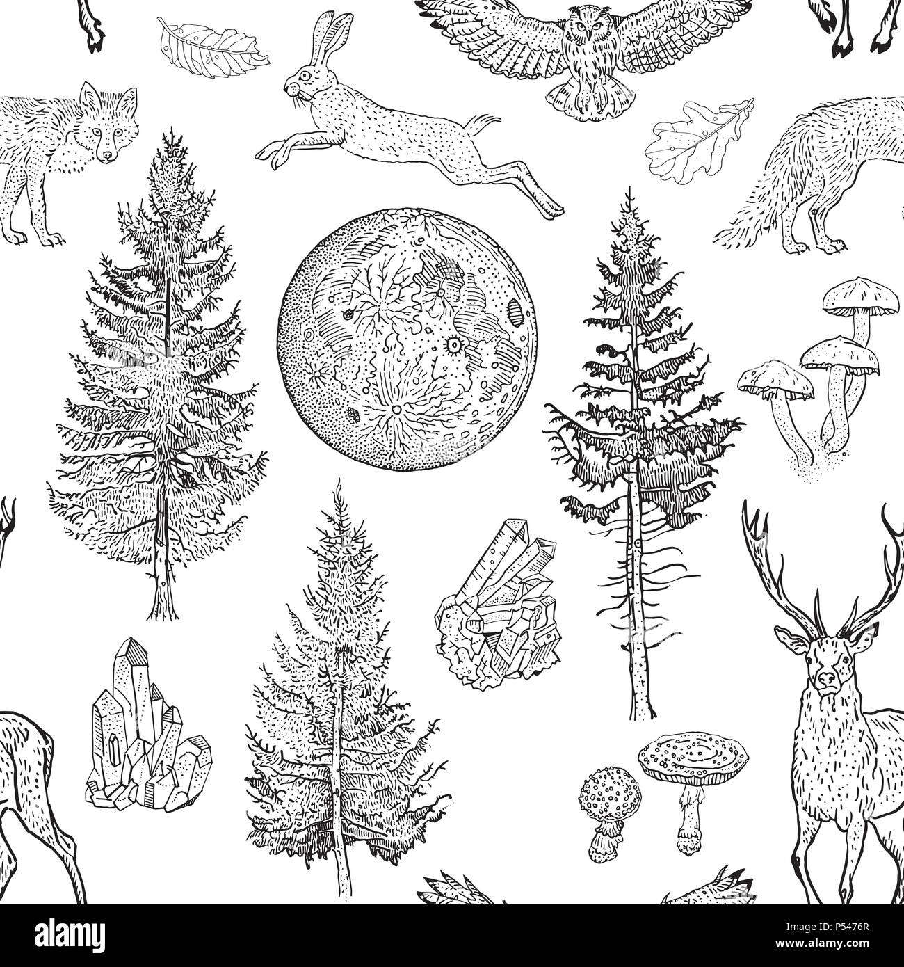 Full moon magic seamless pattern. Spruce, fir tree, mushrooms, fox, hare, deer, leaves, crystals. Hand drawn vintage tattoo engraving style vector illustration black on white. Nature, fantasy, boho. - Stock Vector