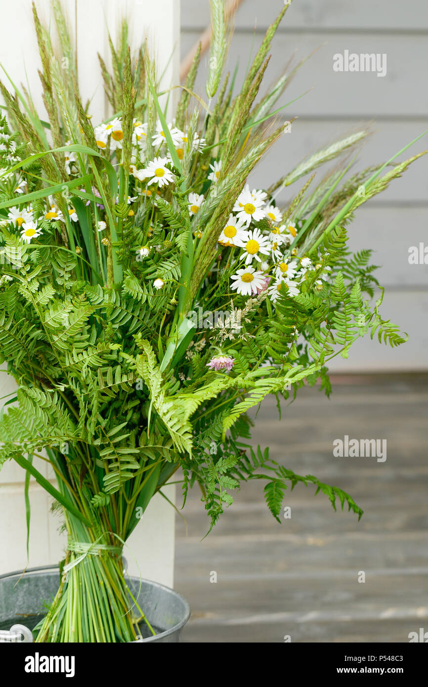 Festive Bouquet Of Yellow And Purple Blue Wildflowers Herbs On A White Background Birthday Mother S Valentines Women S Wedding Day Concept Stock Photo Alamy