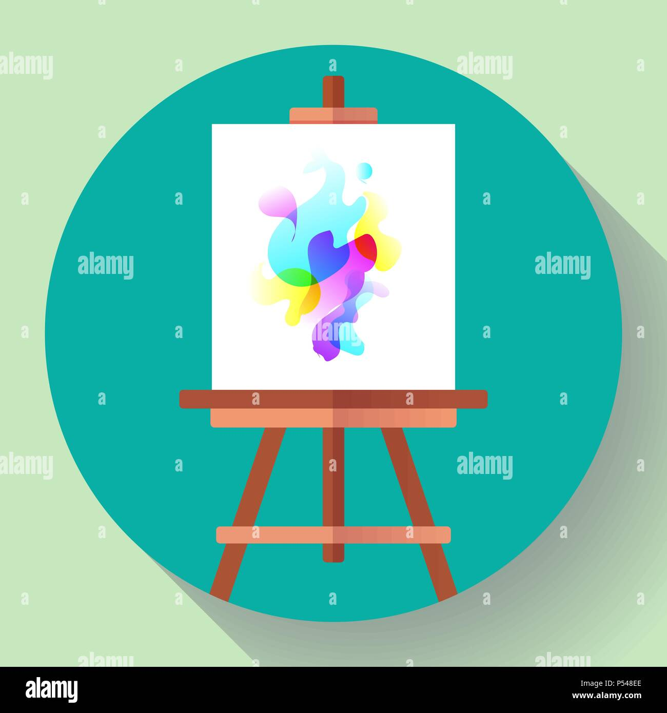 draw easel icon with canvas, vector flat art icon Stock
