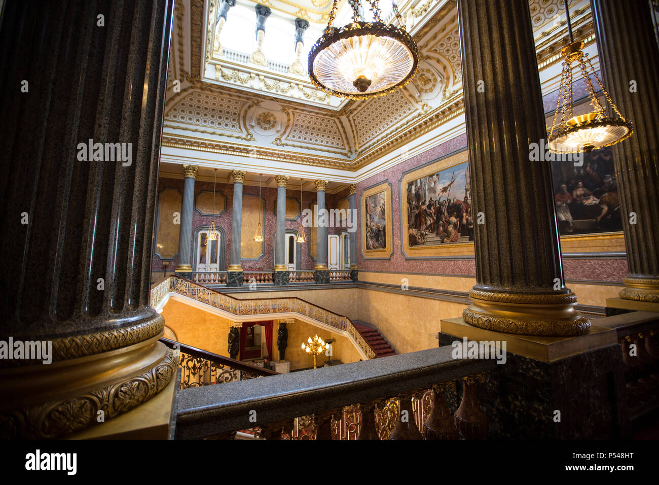 Interior photographs showing the Grand Hall and staircase of Lancaster House, managed and run by The United Kingdom Foreign & Commonwealth Office, UK Stock Photo