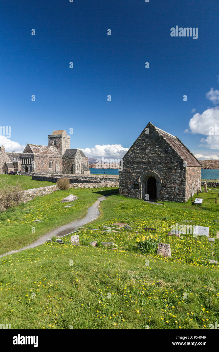 St Oran's Chapel in the cemetery outside the historic medieval abbey church on the Hebridean island of Iona, Argyll and Bute, Scotland, UK - Stock Image