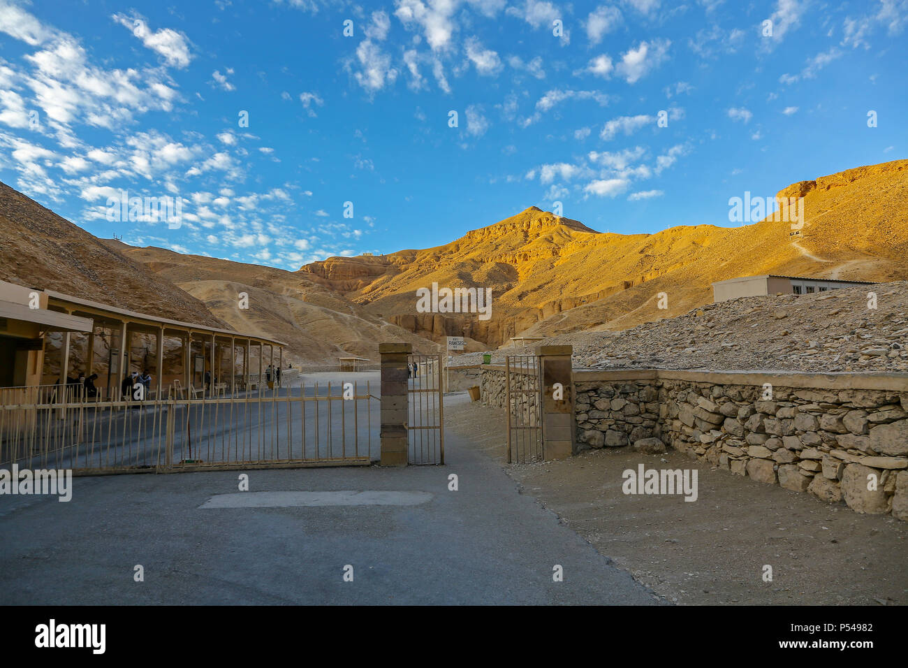 Early morning before the crowds at the entrance to the Valley of the Kings,Thebes, Luxor, Egypt, Africa - Stock Image
