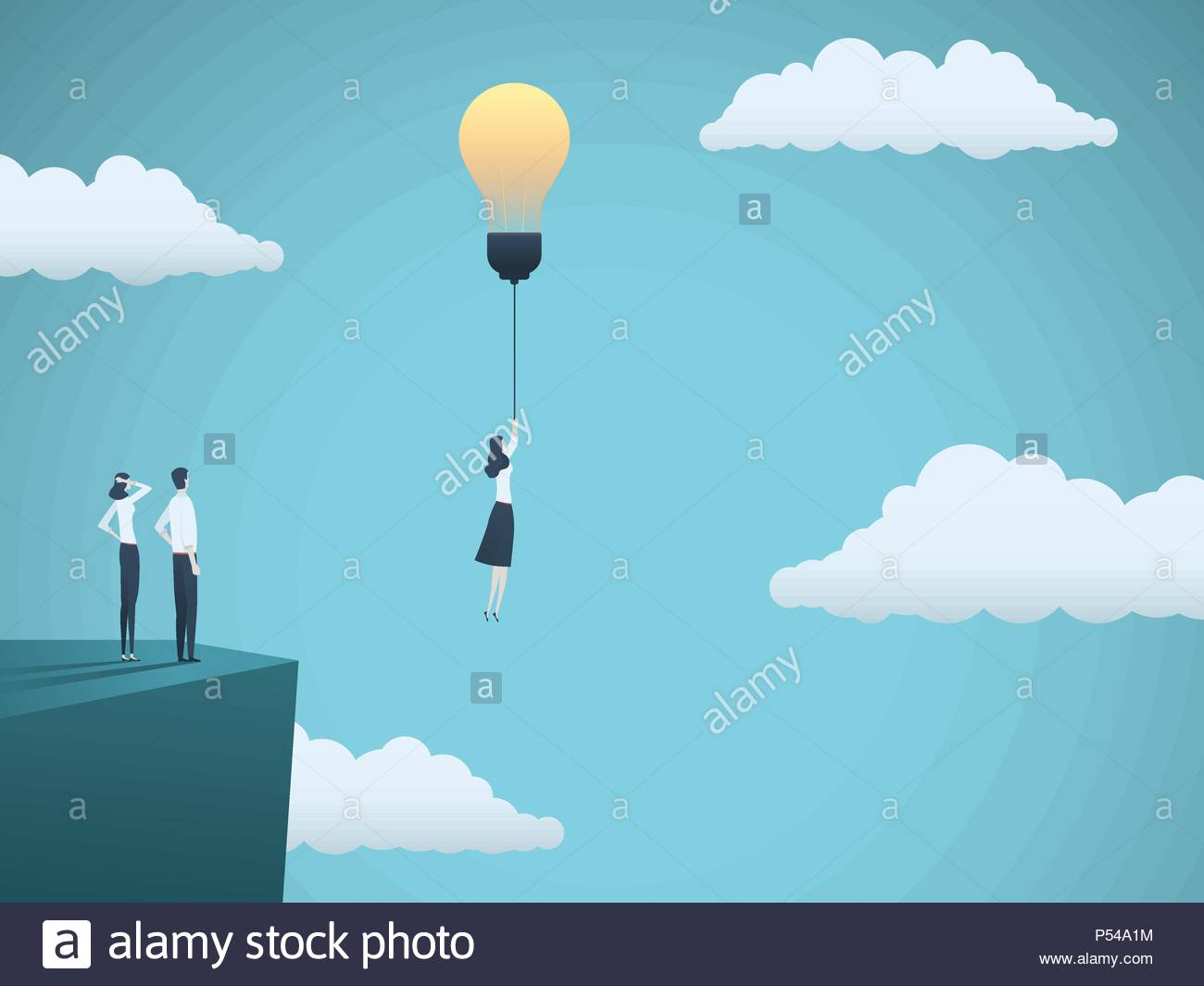 Creative Idea In Business Vector Concept With Businesswoman Flying