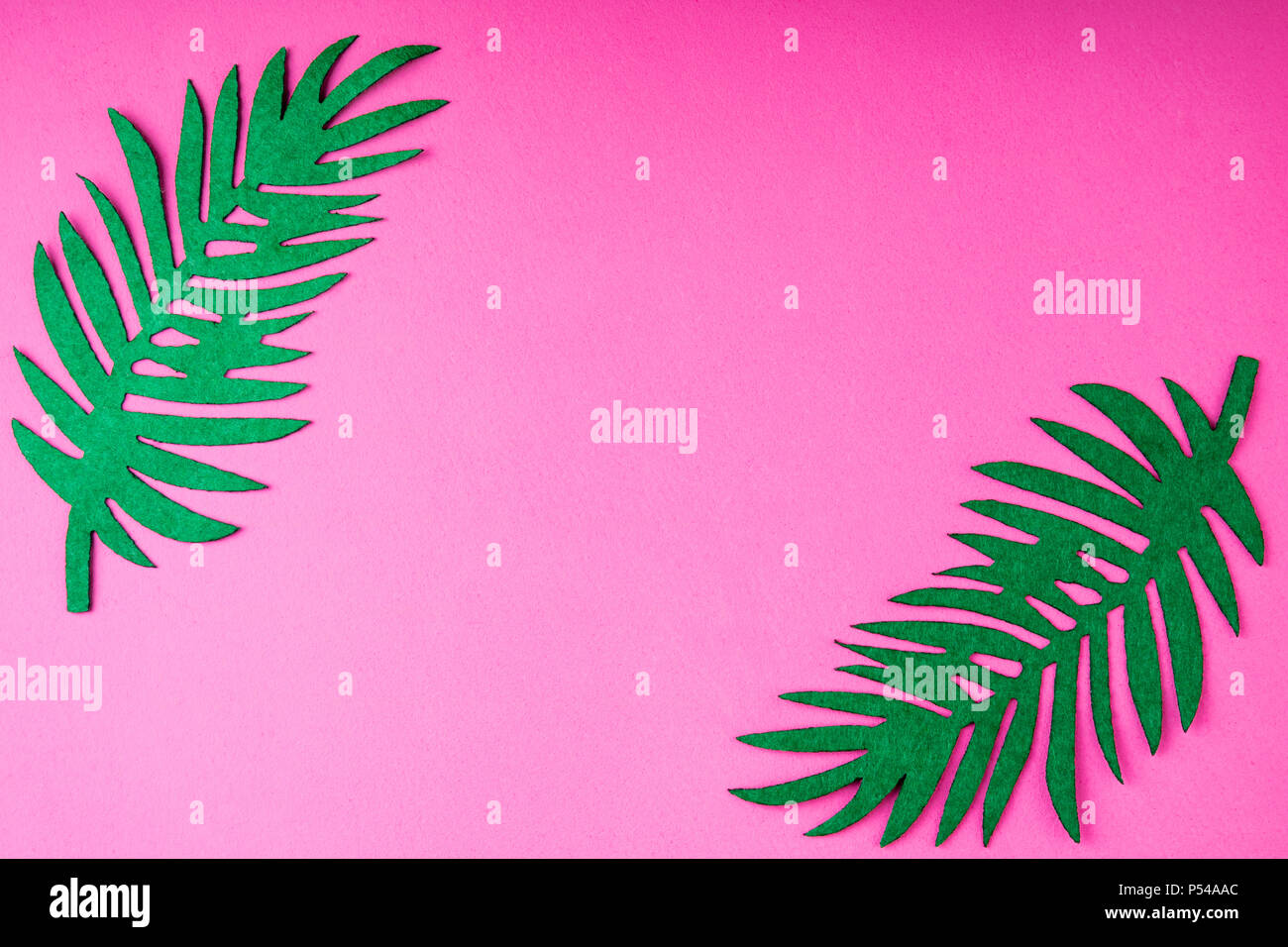 Creative Summer Trendy Background With Palm Leaves On Pink Handmade Idea Art Crafts For Kids In Camp Arts Top View