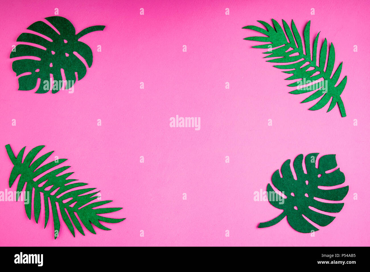 Summer Trendy Background With Leaves On Pink Handmade Palm Felt Toy Idea Art Crafts For Kids In Camp Arts Top View