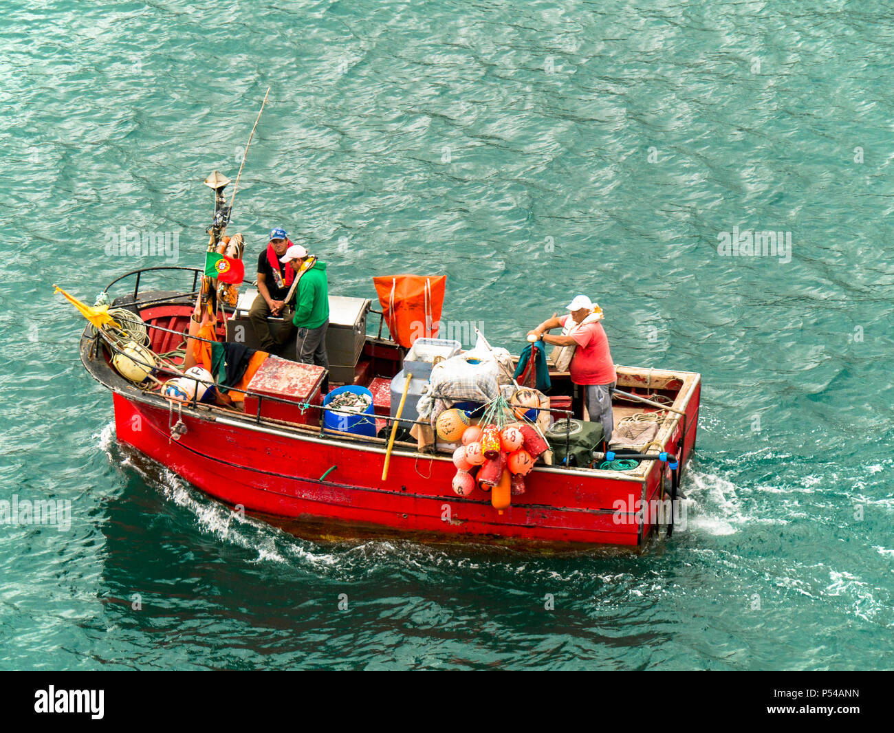 small open Portugese fishing boat, Funchal,Madeira - Stock Image
