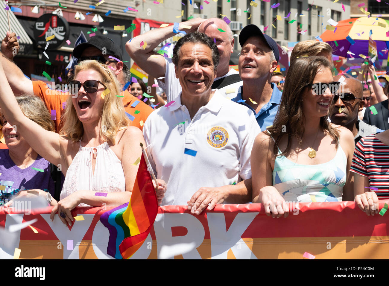 New York State Governor Andrew Cuomo (D) at the Pride March in New York City. Thousands took part in the annual Pride March in New York City to promote LGBT right. - Stock Image