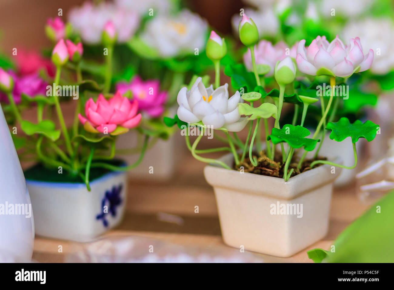 Cute Artificial Pink Lotus Flowers Or Water Lily Artificial Lotus