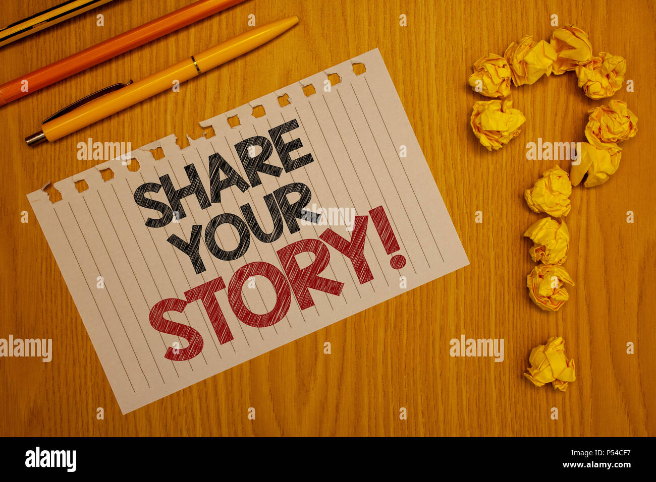 Conceptual hand writing showing Share Your Story Motivational Call. Business photo text Experience Nostalgia Memory Personal Words written Note Desk P - Stock Image