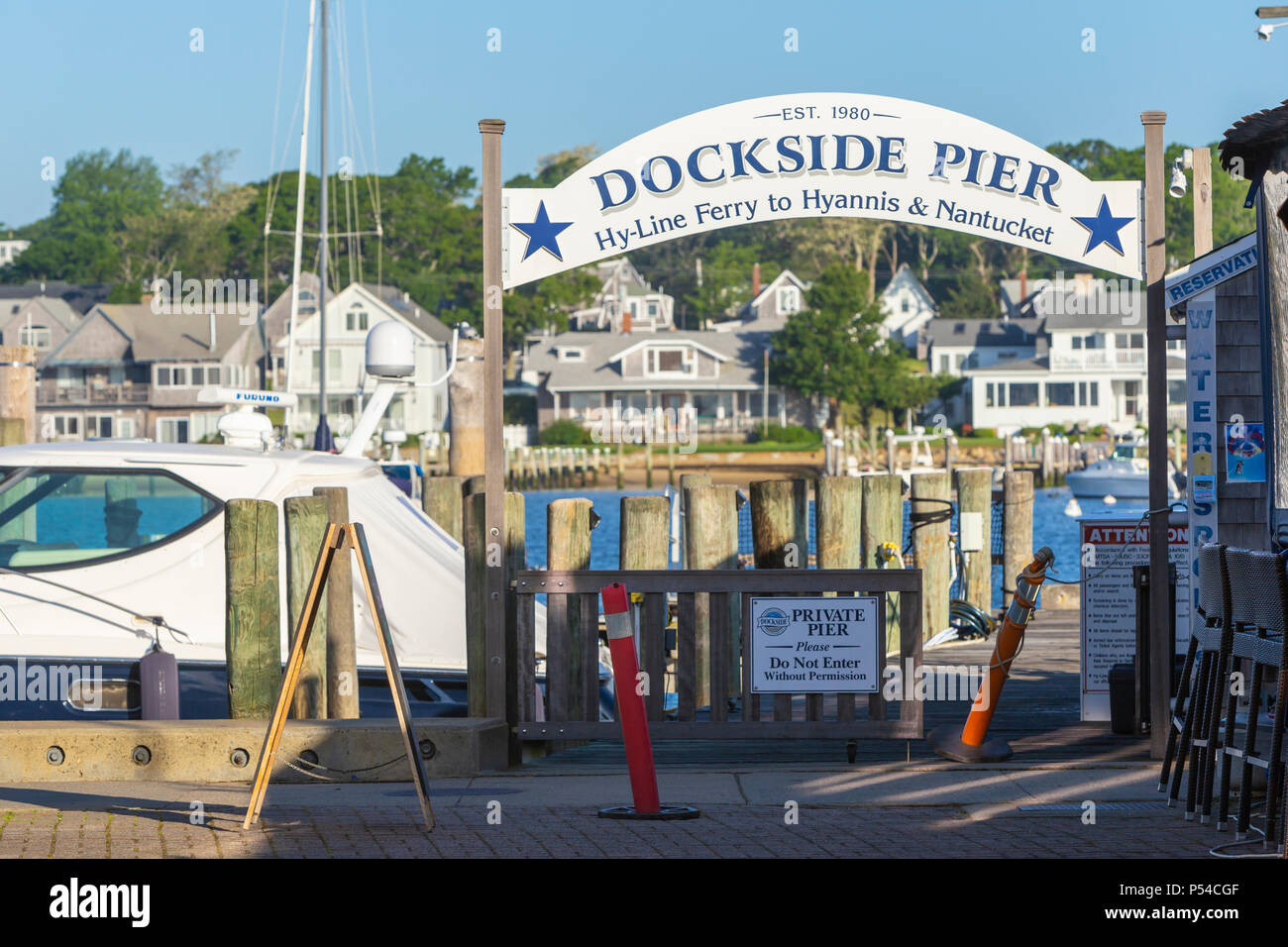 The dock for Hy-Line Cruises' ferries to Hyannis and Nantucket on the Dockside Pier in Oak Bluffs, Massachusetts on Martha's Vineyard. - Stock Image
