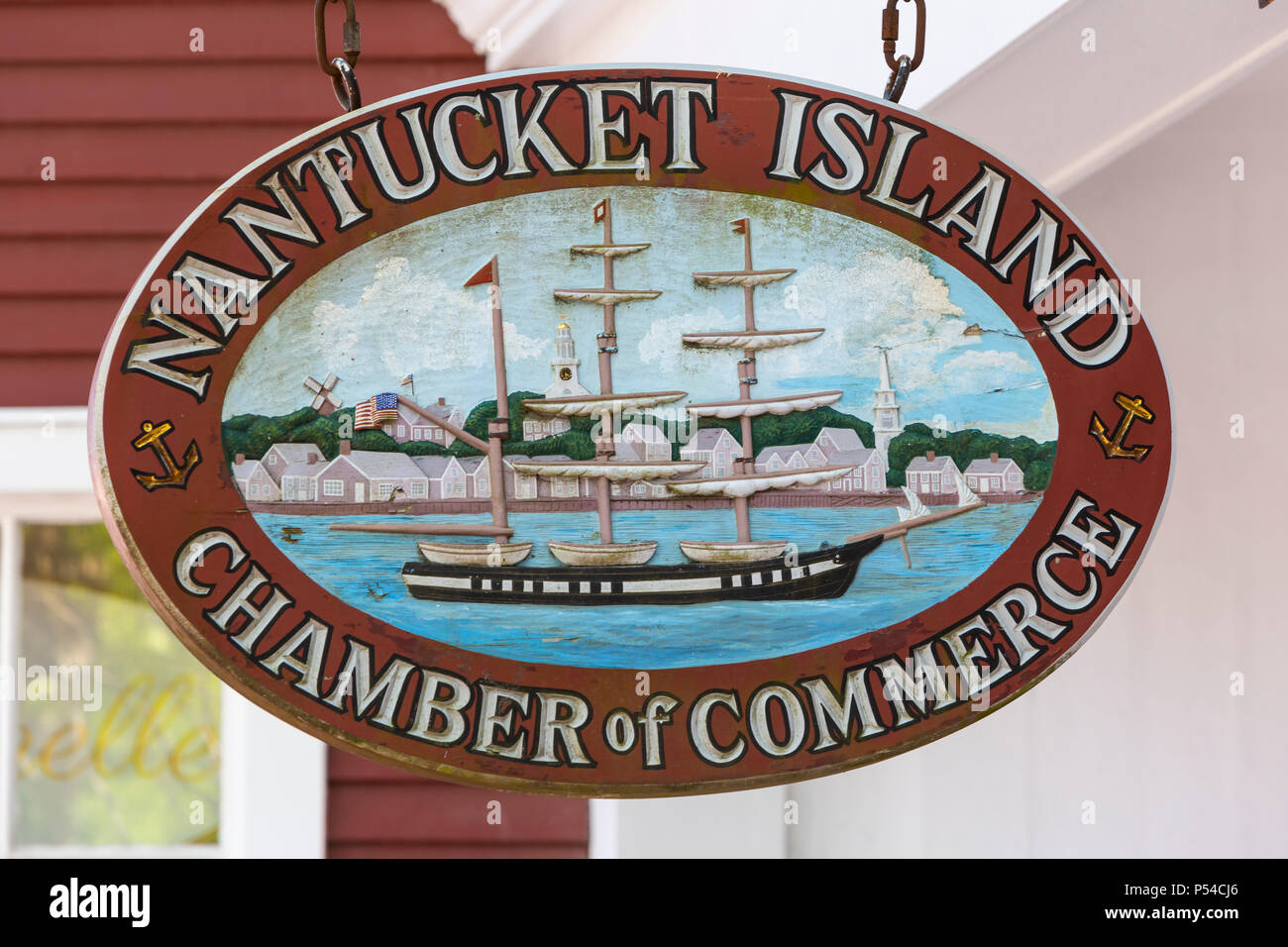 Sign hanging in front of the Nantucket Island Chamber of Commerce in Nantucket, Massachusetts. - Stock Image