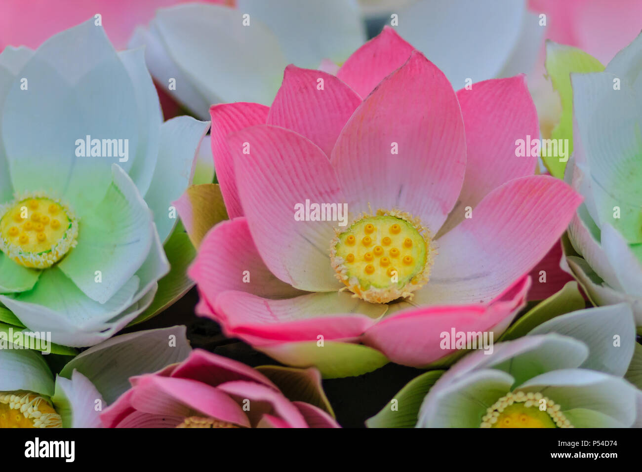 Handmade paper with flower petals stock photos handmade paper with cute artificial pink lotus flowers or water lily artificial lotus flower handmade paper lotus mightylinksfo