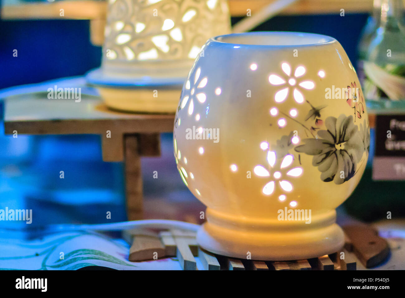 Beautiful Handmade Ceramic Lamp In Flower Patterns Pottery Lamp With Flower Stock Photo Alamy
