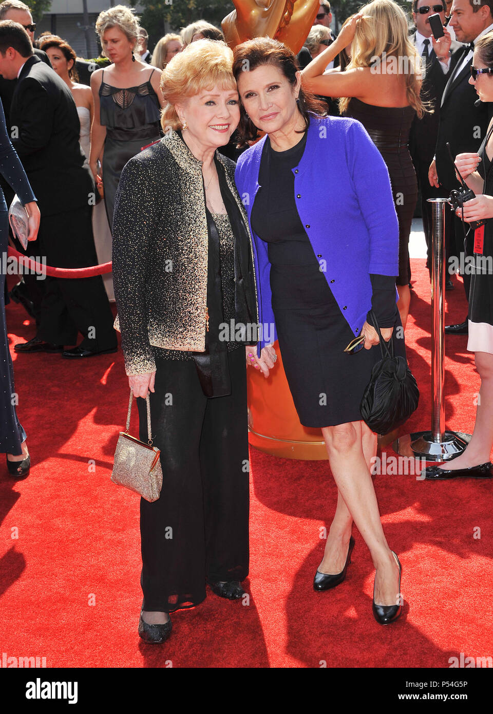Debbie Reynolds, Carrie Fisher  at the 2011 Creative Emmy Awards at the Nokia Theatre In Los Angeles.Debbie Reynolds, Carrie Fisher _11 ------------- Red Carpet Event, Vertical, USA, Film Industry, Celebrities,  Photography, Bestof, Arts Culture and Entertainment, Topix Celebrities fashion /  Vertical, Best of, Event in Hollywood Life - California,  Red Carpet and backstage, USA, Film Industry, Celebrities,  movie celebrities, TV celebrities, Music celebrities, Photography, Bestof, Arts Culture and Entertainment,  Topix, vertical,  family from from the year , 2011, inquiry tsuni@Gamma-USA.com  - Stock Image