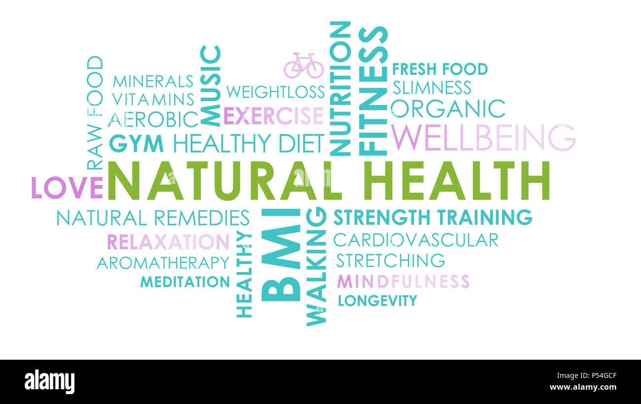 health and wellbeing related text word cloud on white background