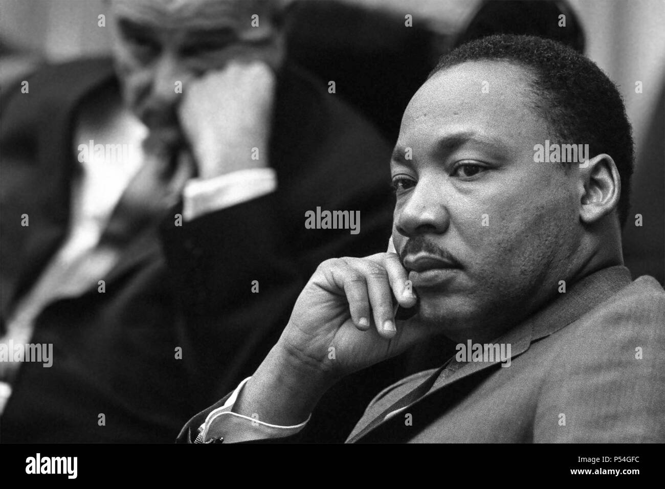 Dr. Martin Luther King, Jr. and President Lyndon B. Johnson meeting at the White House on March 18, 1966. (USA) Stock Photo