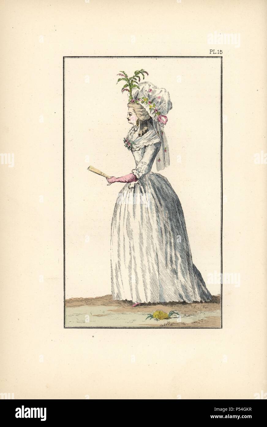 """Bearnaise hat, in honour of Henri IV. Hand-colored lithograph from """"Fashions and Customs of Marie Antoinette and her Times,"""" by Le Comte de Reiset, Paris, 1885. The journal of Madame Eloffe, dressmaker and linen-merchant to the Queen and ladies of the court. Stock Photo"""