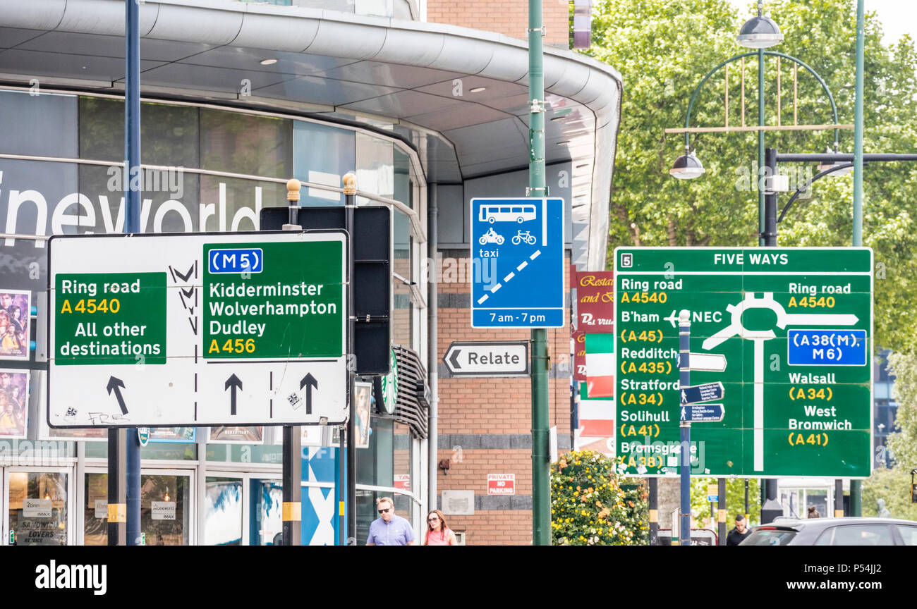 Road direction signs at Five ways roundabout,  Birmingham City Centre, England, UK - Stock Image