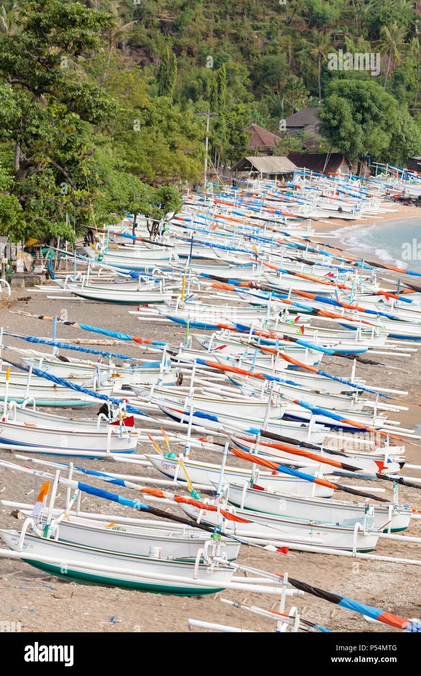 Bangka boats, Amed, Bali, Indonesia - Stock Image