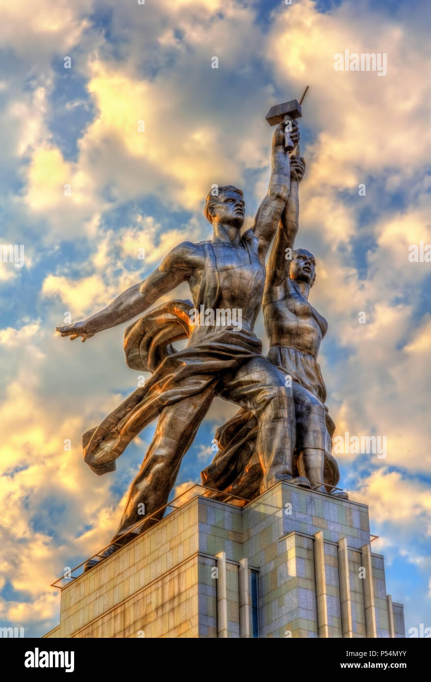Worker and Kolkhoz Woman, a famous soviet monument in Moscow - Stock Image