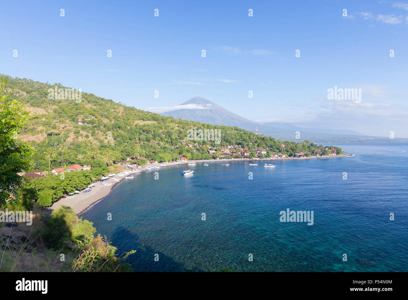 Amed beach with the Agung volcano in the background, Bali, Indonesia - Stock Image