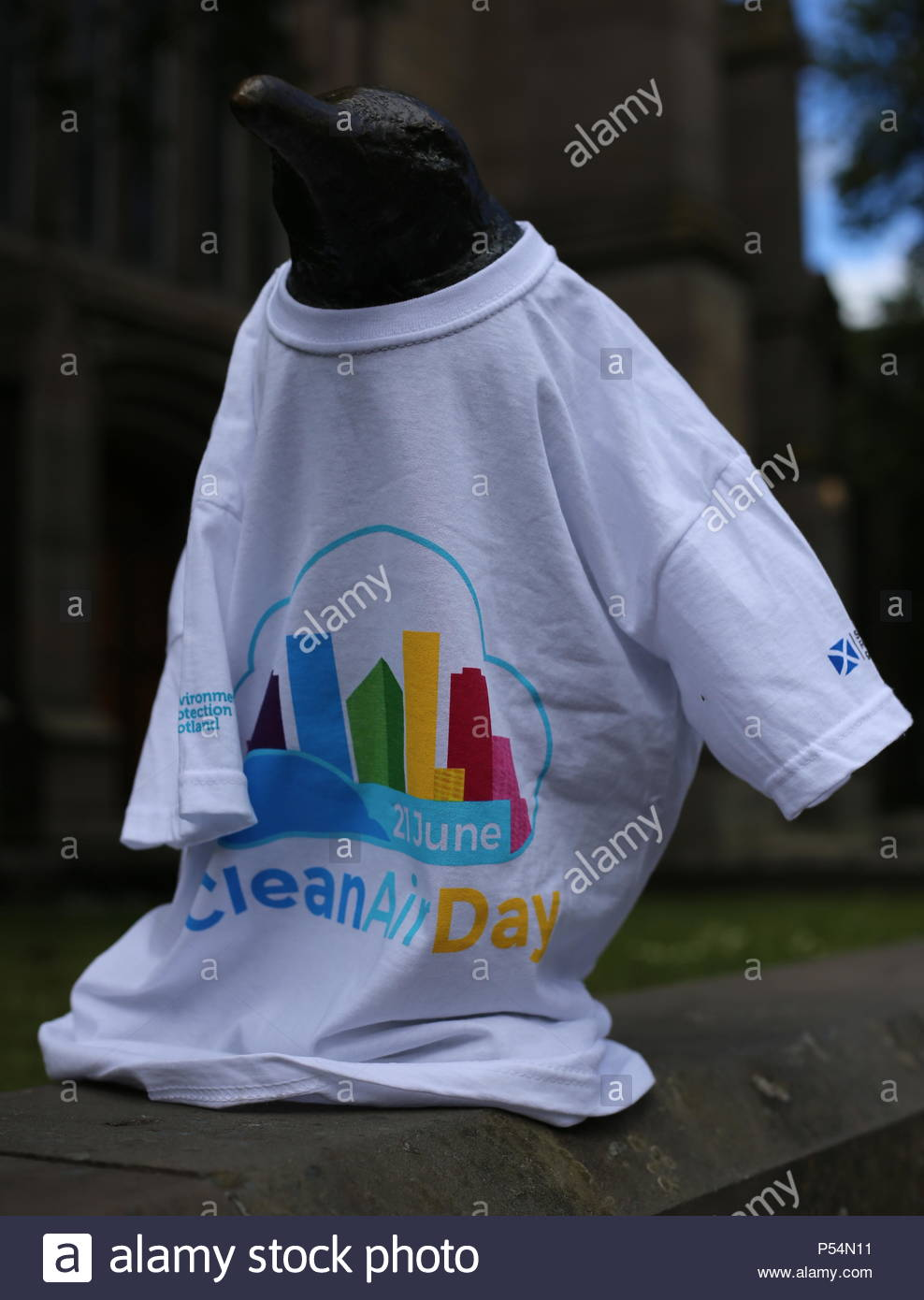 Penguin sculpture with T-shirt to promote Clean Air Day Dundee Scotland  21st June 2018 - Stock Image