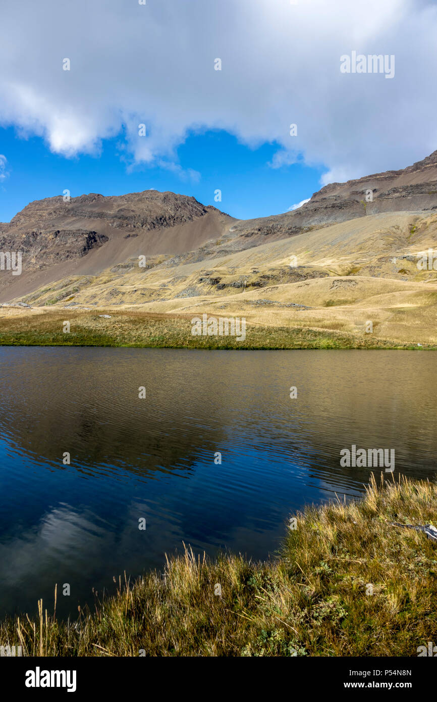 Hidden lakes in Shackleton Valley, South Georgia Island - Stock Image