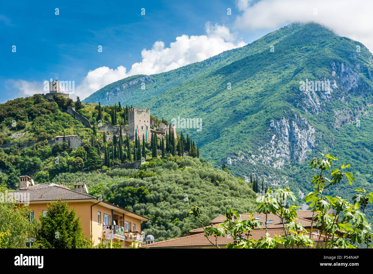 Arco Castle (Castello di Arco) is a ruined castle located on a prominent spur high above Arco and the Sarca Valley in Trentino Alto Adige, Italy - Stock Image