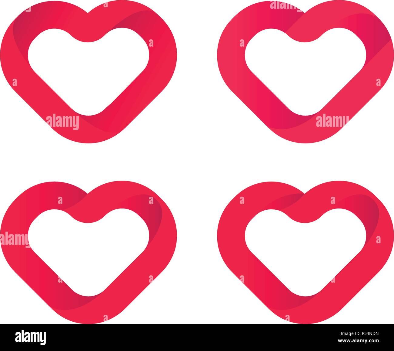 red hearts love vector icons set wedding logo template heart rh alamy com wedding heart cookies Hearts Wedding Clip Art