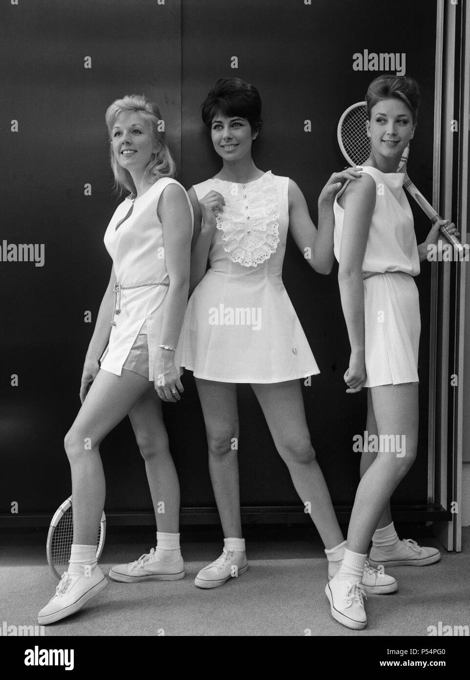Fashions for Wimbledon Photoshoot. Models displaying a selection of Fred Perry designs for Wimbledon. 12th June 1963. - Stock Image