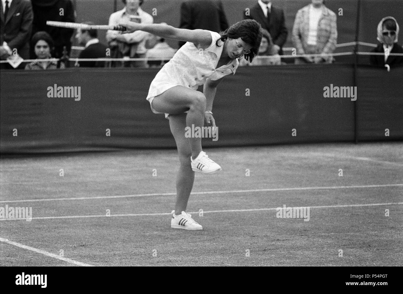 Top players at the Queen's Club Tournament at Queen's Club, Kensington. Billie Jean King, the defending champion plays in a women's doubled with Miss Casals against Miss Stap and Miss Kroshina.  21st June 1973. - Stock Image