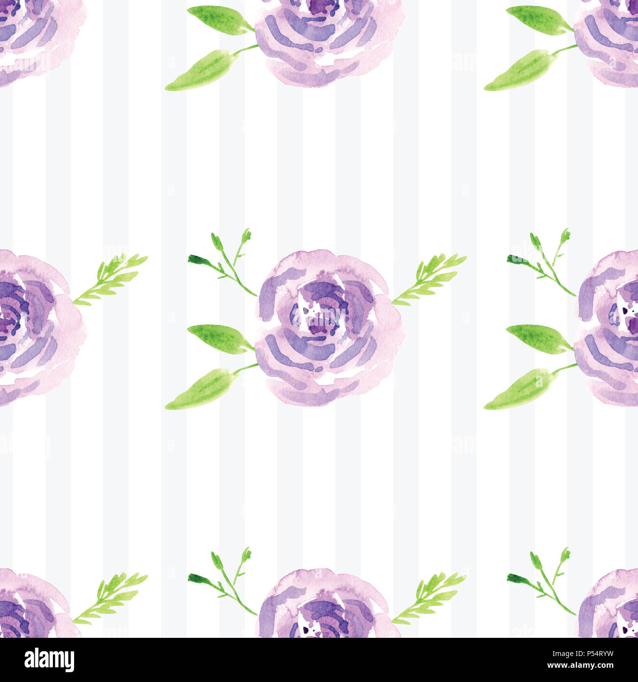Hand Painted Watercolor Floral Rose Pattern Illustration Of