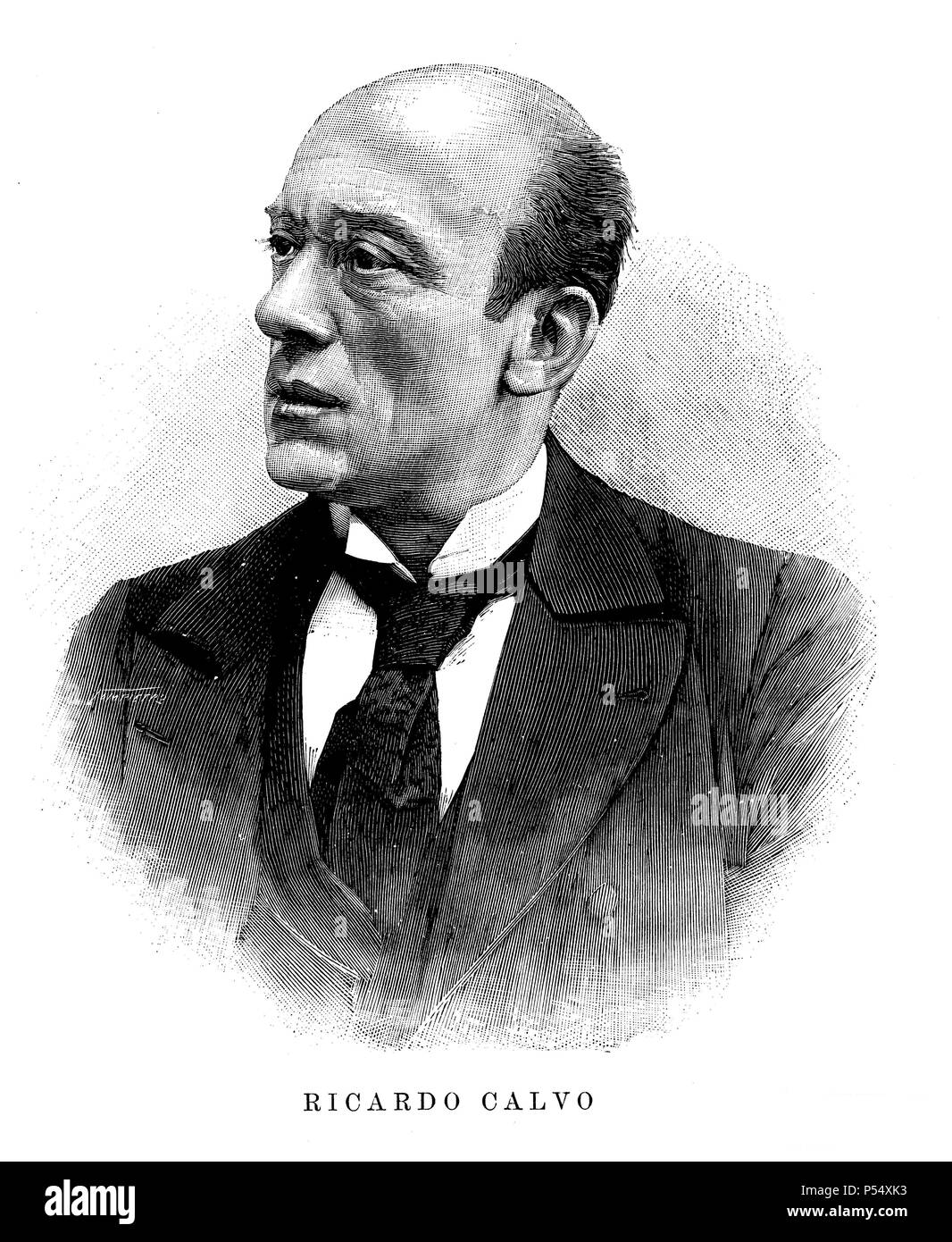 Ricardo Calvo Revilla (1844-1895). Actor español. Grabado de 1895. Stock Photo