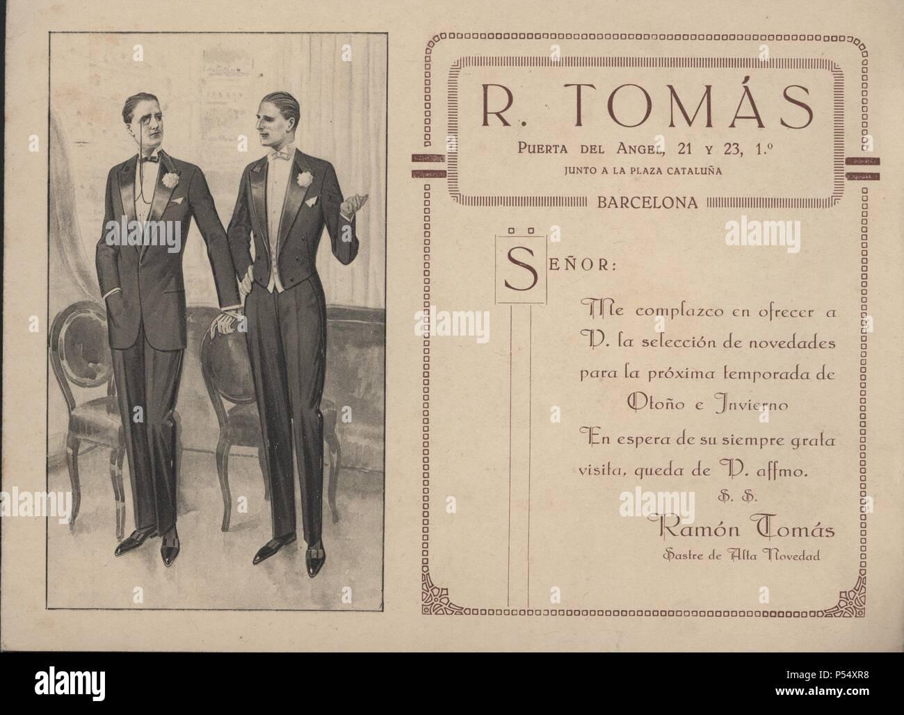 Publicidad. Sastrería Tomás. Barcelona, años 1920. - Stock Image