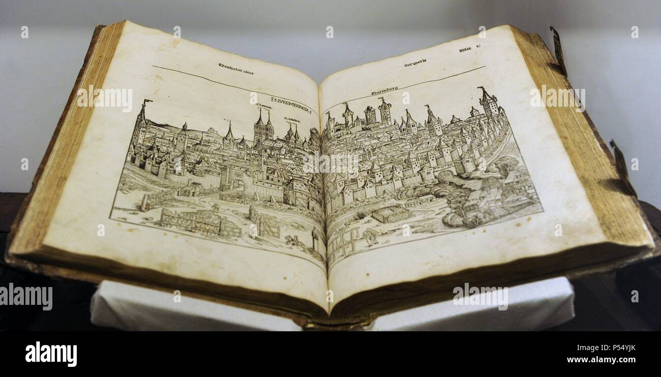 Nuremberg Chronicle. German version, December 23, 1493. Compiled by Hartmann Schedel and engraving by Michael Wolgemuth and Wilhelm Pleydenwurff. Engraving depicting the city of Nuremberg. German Historical Museum. Berlin. Germany. - Stock Image