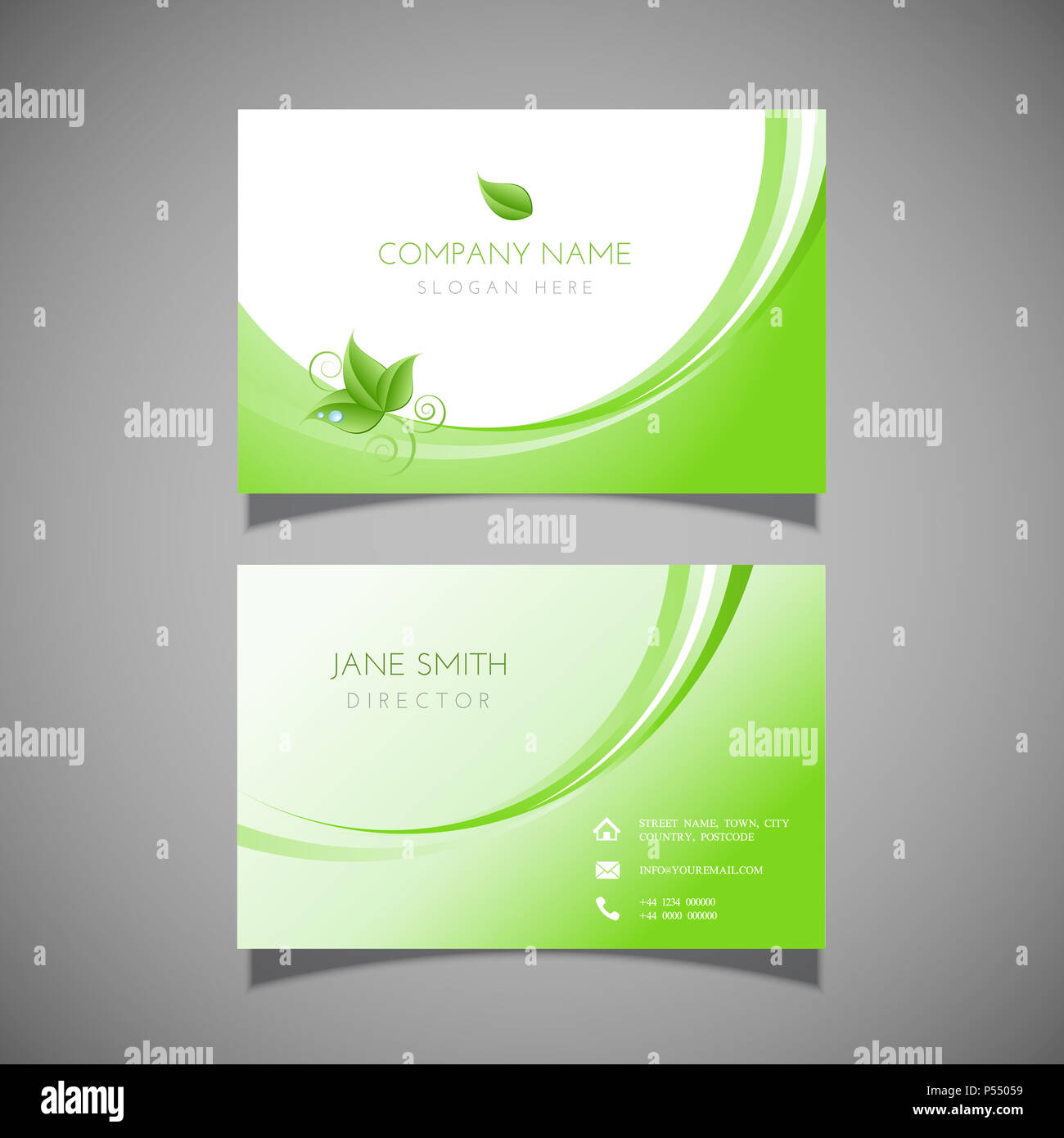 Business card with leaf design - ideal for health spa or beauty ...