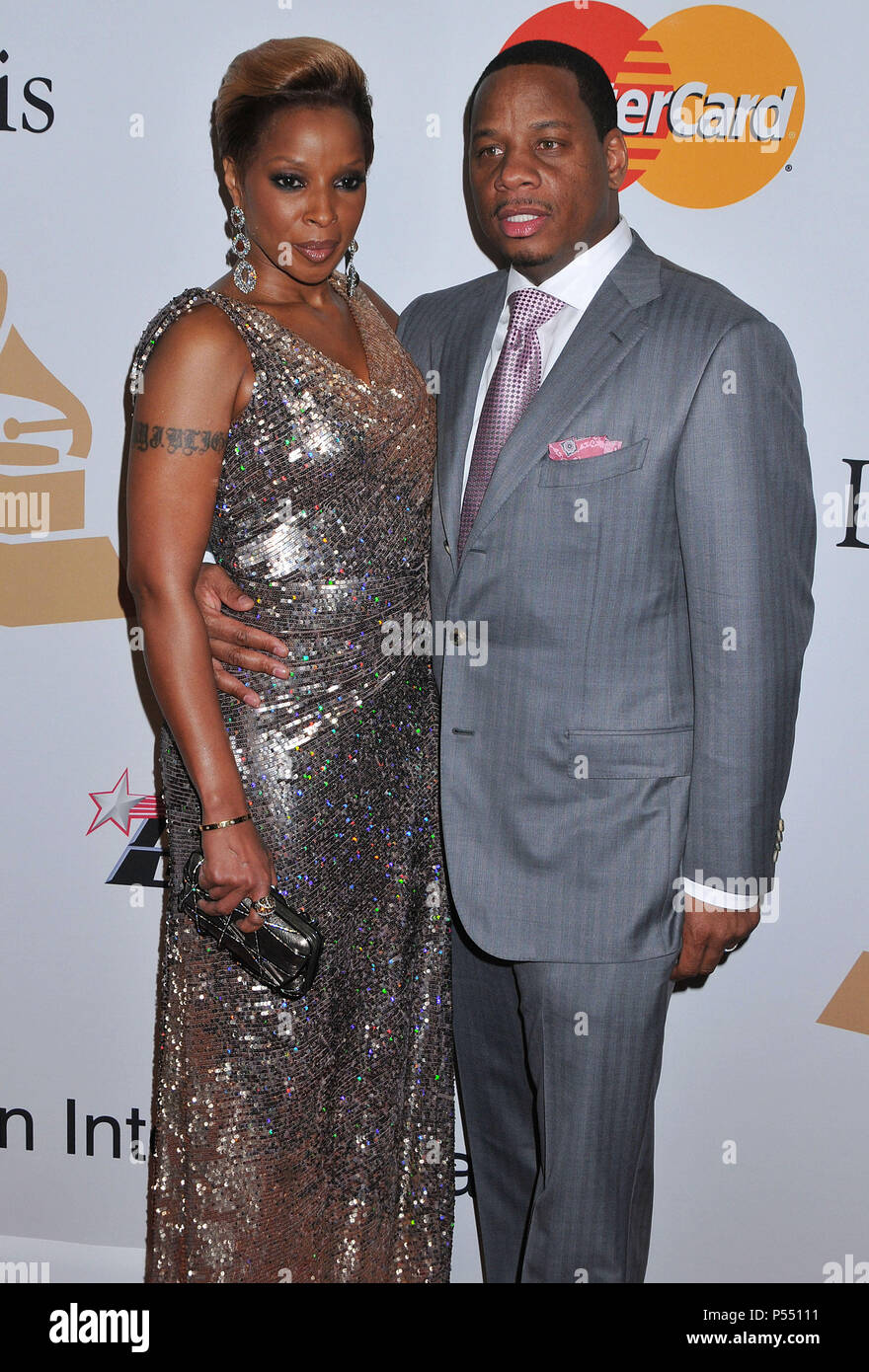 Mary J Blige and husband 109 - Clive Davis Pre-Grammy Gala at the