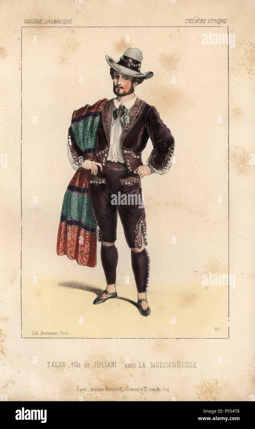 Talon as Juliani in 'La Moissonneuse' at the Theatre Lyrique. Handcoloured lithograph by Alexandre Lacauchie from 'Galerie Dramatique: Costumes des Theatres de Paris' 1853. - Stock Image