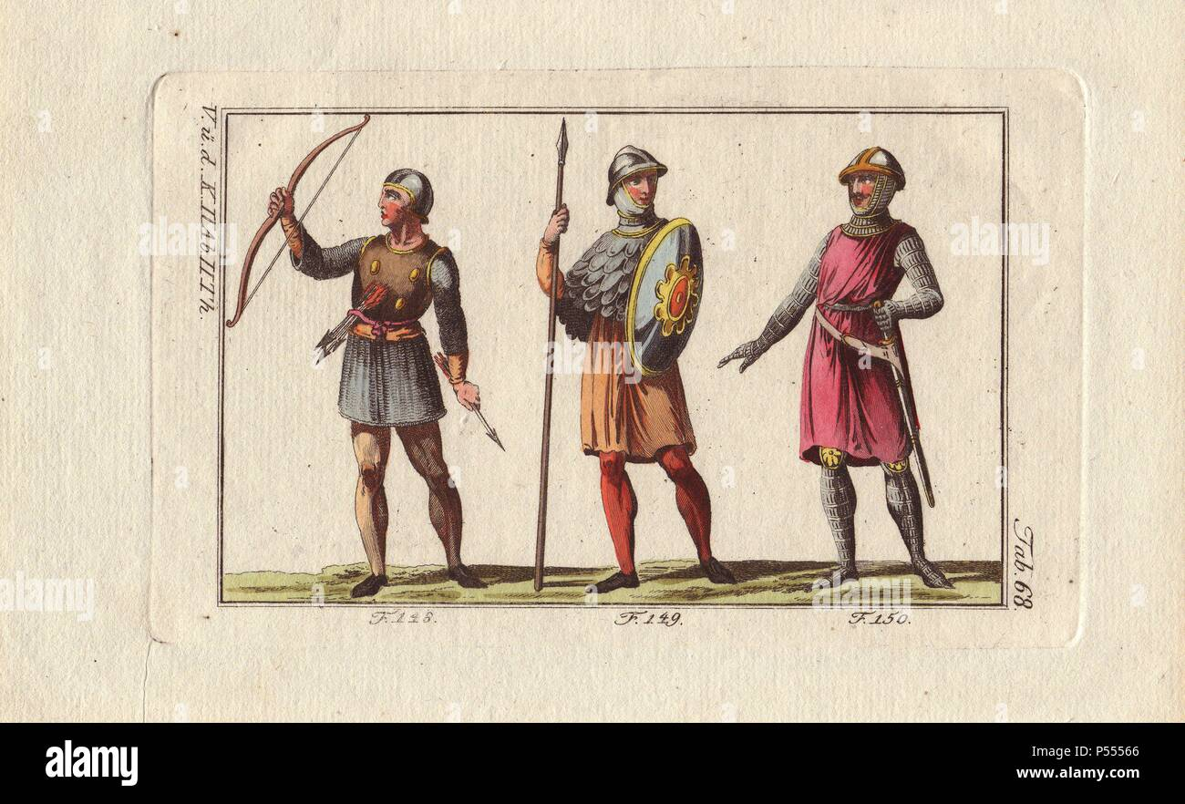 Norman soldiers: bowman with breastplate, bow and arrows; fantassin (infantry) with lance, shield and cuirass; and fantassin (infantry) in chain-mail armor with helmet and military surtout.. . Handcolored copperplate engraving from Robert von Spalart's 'Historical Picture of the Costumes of the Principal People of Antiquity and of the Middle Ages' (1796). - Stock Image