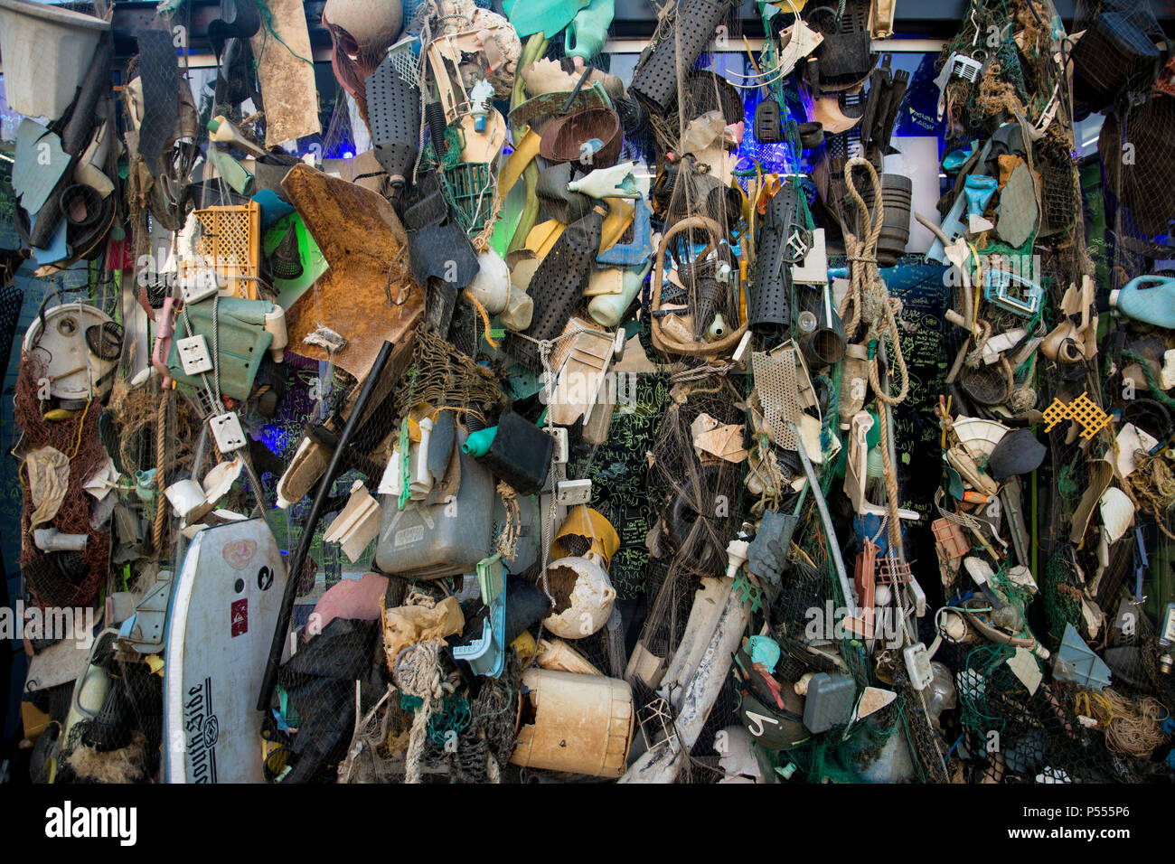 The Ocean Plastics Lab is an international travelling exhibition about science showcasing the contribution of science to understand and tackle the pro - Stock Image