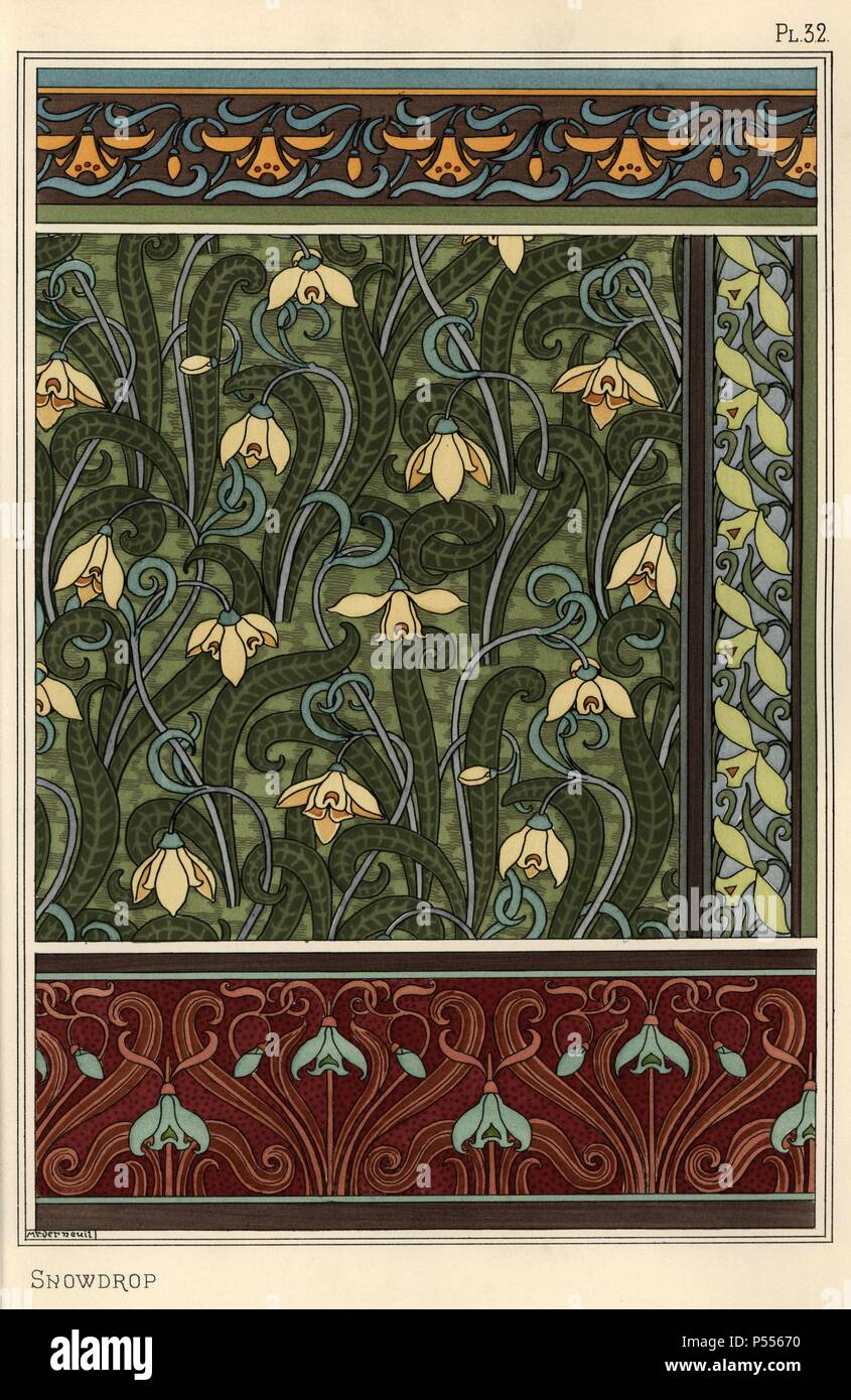 Snowdrop Galanthus Nivalis As Design Motif In Wallpaper Borders And Fabrics Lithograph